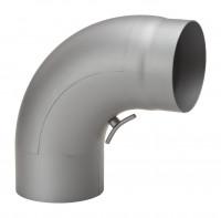 Rauchrohrbogen Stahl 90° Ø 150 mm hellgrau, gezogen mit Tür - SM15-283