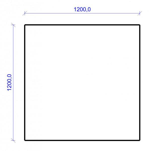 Kamin Bodenplatte, 6 mm ESG-Klarglas, Quadrat 1200 x 1200 mm