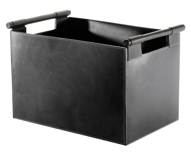 holzkorb leder schwarz orskov 98 226 g nstig kaufen cafiro. Black Bedroom Furniture Sets. Home Design Ideas