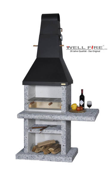 Grillkamin Wellfire PARTY QUATTRO 4 in 1 mit Stahlhaube
