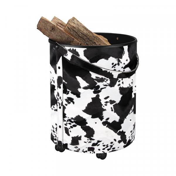 Holzkorb mit Rollen Leder RUMBA, Kuhfell-Optik
