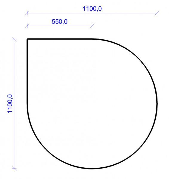 Kamin Bodenplatte, 2 mm Stahl, Tropfenform 1100 x 1100 mm, hellgrau