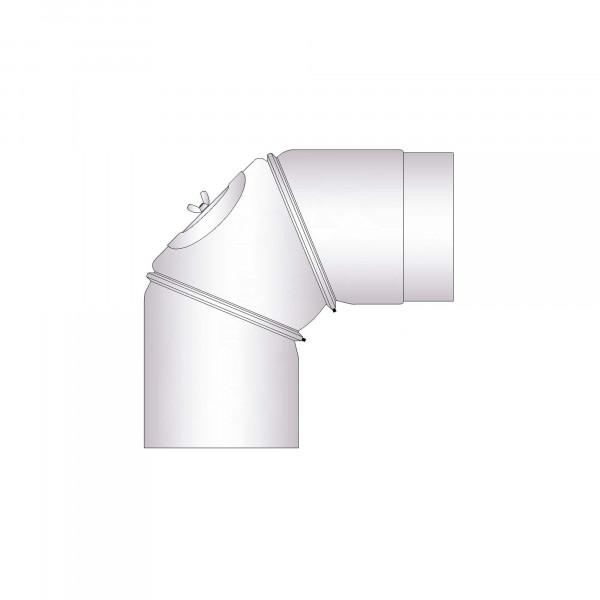 Rauchrohrbogen Stahl verstellbar 0-90° unlackiert mit Tür