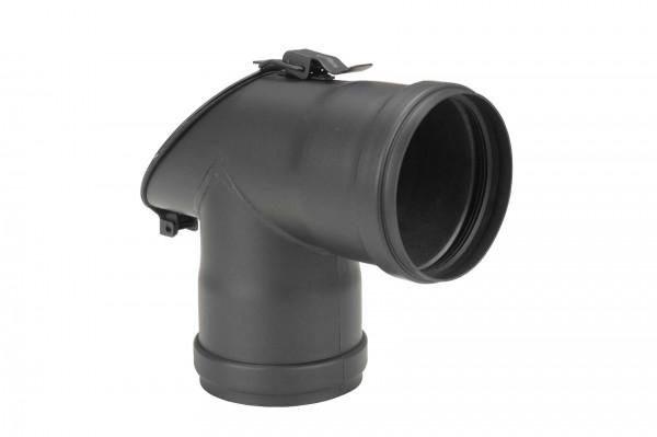 T-Stück Pellet-Ofenrohr 90° schwarz mit 45° Prüföffnung, Muffe-Muffe