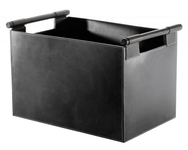 Holzkorb Leder, rechteckig, 43 x 30 x 29 cm, schwarz