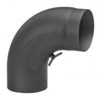 Rauchrohrbogen Stahl 90° schwarz, gezogen mit Tür - SM13-282