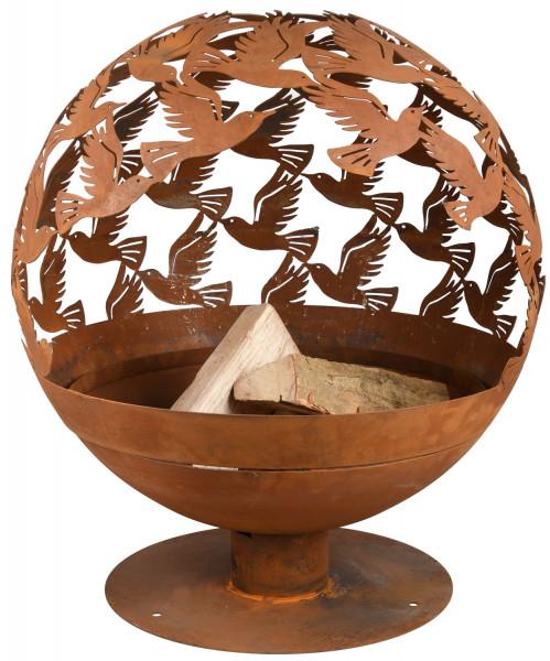 Feuerschale Rost Kugel, 58 x 56 x 64 cm, Feuerball Vogel
