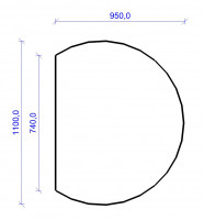 Kamin Bodenplatte, 2 mm Stahl, Kreisabschnitt 950 x 1100 mm, schwarz - SM32-400