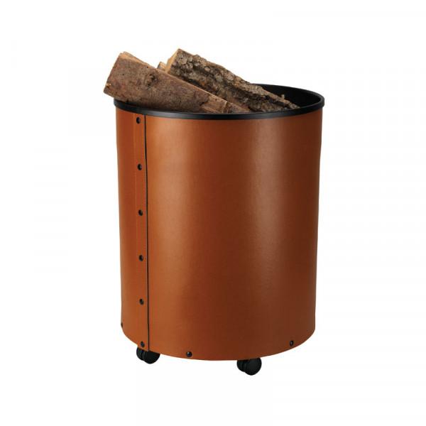 Holzkorb RUMBA, regeneriertes Leder, cognac
