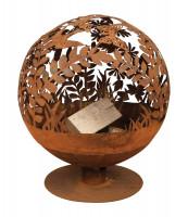 Feuerschale Rost Kugel, 58 x 57 x 66 cm, Feuerball Blumen - SMFF294