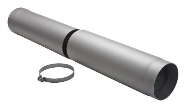 Teleskop-Rauchrohr Stahl verstellbar 500-800 mm Ø 150 mm hellgrau