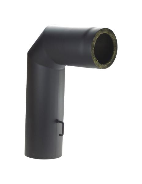 Rauchrohrbogen Stahl 2x45° Doppelwand 700x500 mm Ø 150 mm schwarz, Drosselklappe