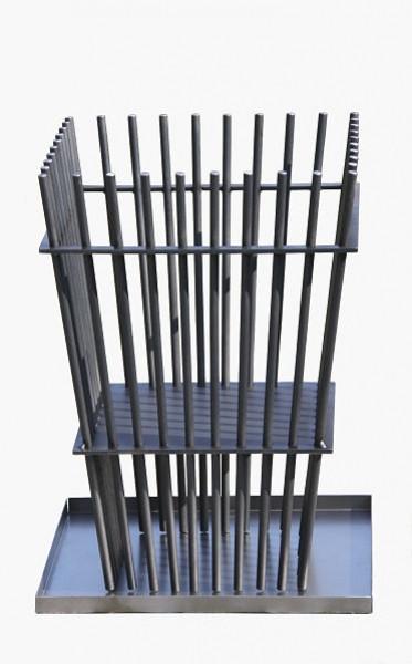 Ricon Feuerkorb 0780, Stahl geölt mit Auffangschale, 42 x 42 x 60 cm
