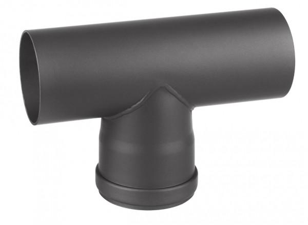 T-Stück Pellet-Ofenrohr Stahl 90° schwarz, Steckende-Steckende