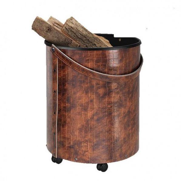 Holzkorb rund mit Rollen Kroko-Optik, Leder