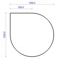 Kamin Bodenplatte, 2 mm Stahl, Tropfenform 1250 x 1250 mm, schwarz - SM32-320