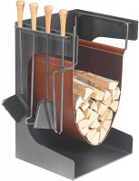 Holzablage mit Kaminbesteck VANCOUVER-1, Stahl anthrazit, 4-teilig - SM04.56.0480