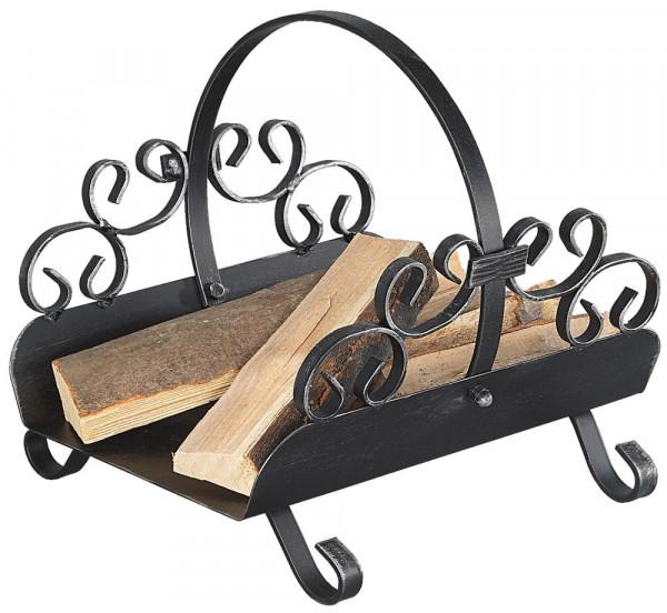 Holzkorb LANDHAUS-4 aus Schmiedeeisen, schwarz antik
