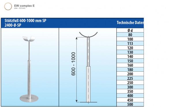 Stützfuß verstellbar 600-1000 mm Edelstahl einwandig - eka complex E