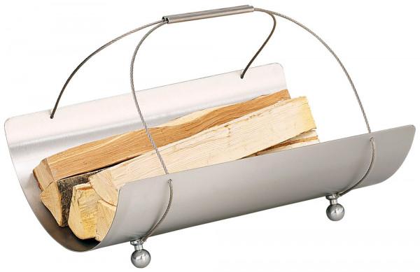 Holzkorb COLLO-3 aus Edelstahl mit Trageseilen