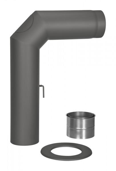 Rauchrohr Set Stahl 2x 45° 700 x 500 mm schwarz