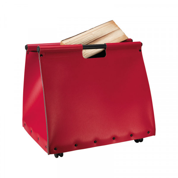 Holztasche JIVE, regeneriertes Leder, rot
