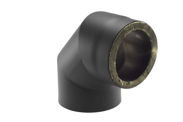 Rauchrohrbogen Stahl 2x 45° doppelwandig Ø 150 mm schwarz