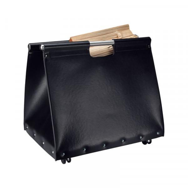 Holztasche JIVE, regeneriertes Leder, schwarz