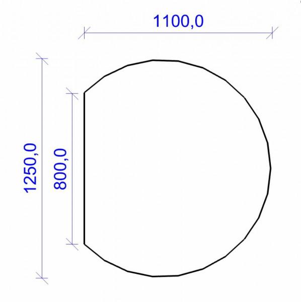 Kamin Bodenplatte, 6 mm ESG-Klarglas, Kreisabschnitt 1100 x 1250 mm