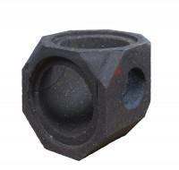 Keramik Modul Speicher 240 Bogen 90° Bohrung seitlich 240 mm x 240 mm x 240mm, Ø 160 mm - SM1602022
