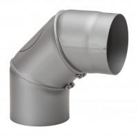 Rauchrohrbogen Stahl verstellbar 0-90° hellgrau mit Putztür - SM12-261