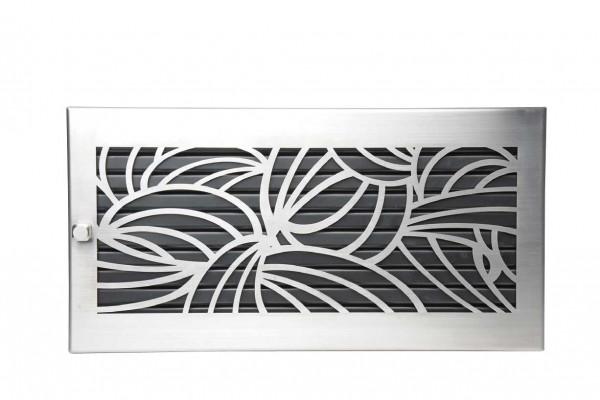 Warmluftgitter 45 x 23 cm schwarz Designblende D2 Edelstahl matt