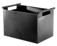 Holzkorb Leder, rechteckig, 43 x 30 x 29 cm, schwarz - SM98-226