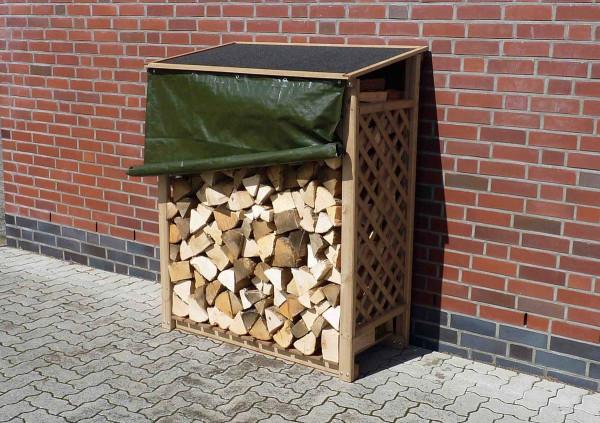 Brennholzregal Speyer Natur mit Wetterschutz