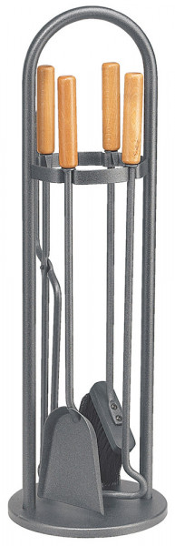Kaminbesteck TANGO-2 aus Stahl, 4- teilig, anthrazit