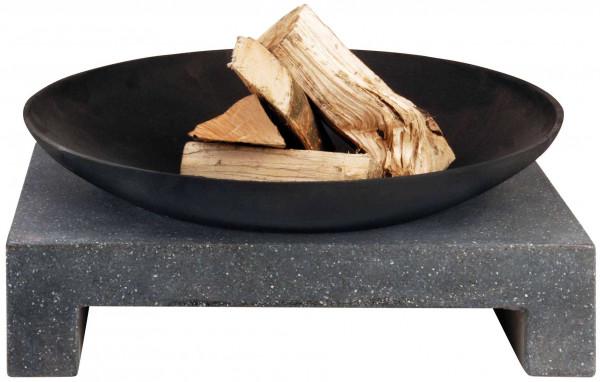 Feuerschale Gusseisen, eckiger Sockel aus Granito, Ø 59 cm