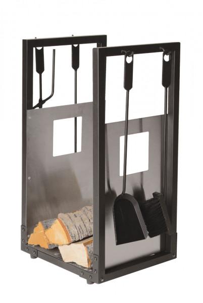 Holzkorb und Kaminbesteck Lienbacher aus Stahl, 4- teilig, schwarz beschichtet