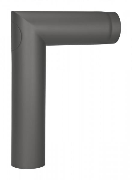 Anschlussrohr Stahl 90° 700 x 500 mm schwarz mit Tür