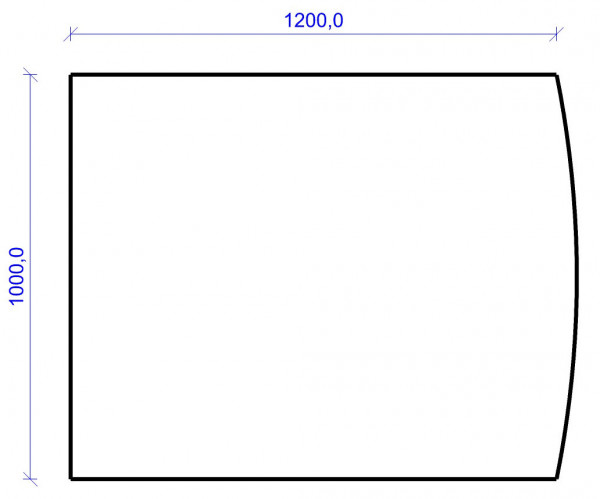 Kamin Bodenplatte, 6 mm ESG-Klarglas, Segmentbogen 1000 x 1200 mm