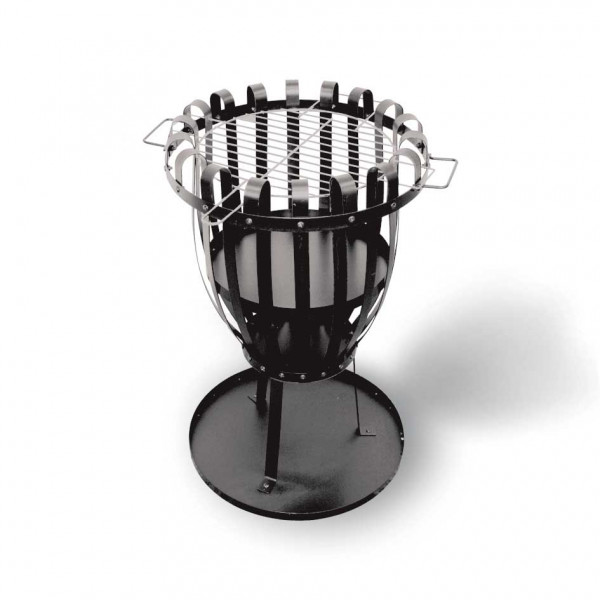 Feuerkorb PALERMO mit Grillrost aus Flachstahl, schwarz