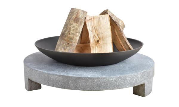 Feuerschale Gusseisen, runder Sockel aus Granito, Ø 68 cm