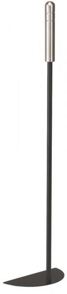 Aschekratzer aus Stahl mit Edelstahlgriffen, schwarz