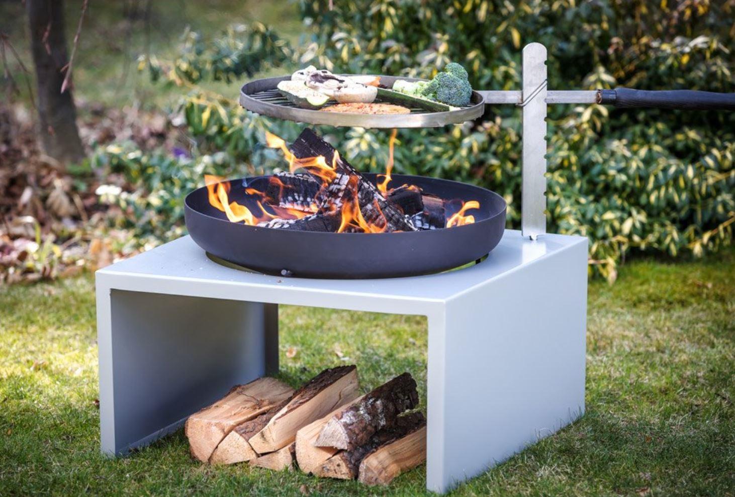 Feuerschale Stahl mit Grillrost Feu du Jardin MODERNE