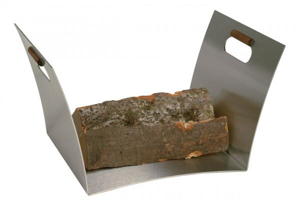 Holzkorb Lienbacher aus Edelstahl mit Nussholzgriff