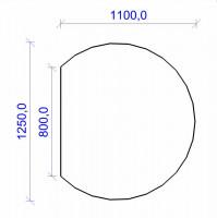 Kamin Bodenplatte, 6 mm ESG-Klarglas, Kreisabschnitt 1100 x 1250 mm - SM30-410
