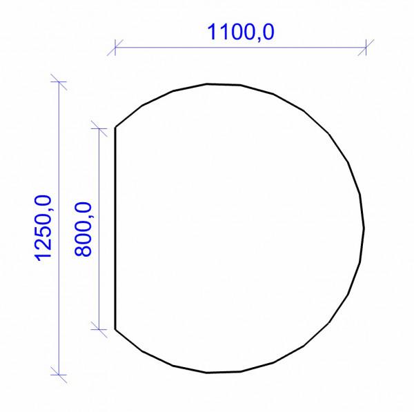 Kamin Bodenplatte, 2 mm Stahl, Kreisabschnitt 1100 x 1250 mm, hellgrau