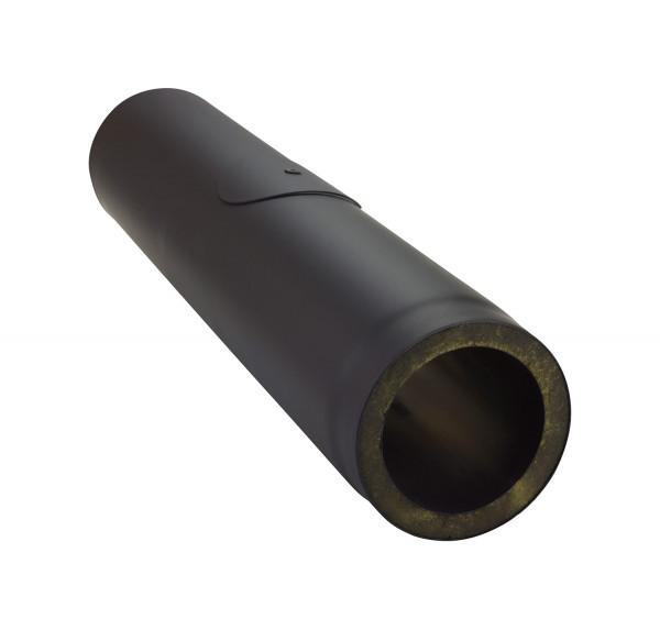 Rauchrohr Stahl doppelwandig 1000 mm Ø 150 mm schwarz mit Prüföffnung