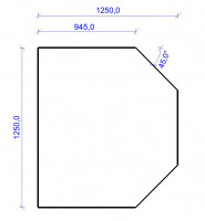 Kamin Bodenplatte, 2 mm Stahl, Sechseck 1250 x 1250 mm, hellgrau - SM32-811