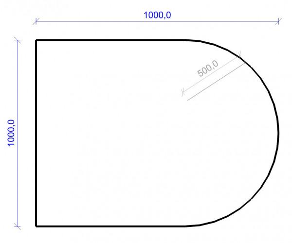 Kamin Bodenplatte, 6 mm ESG-Klarglas, Rundbogen 1000 x 1000 mm