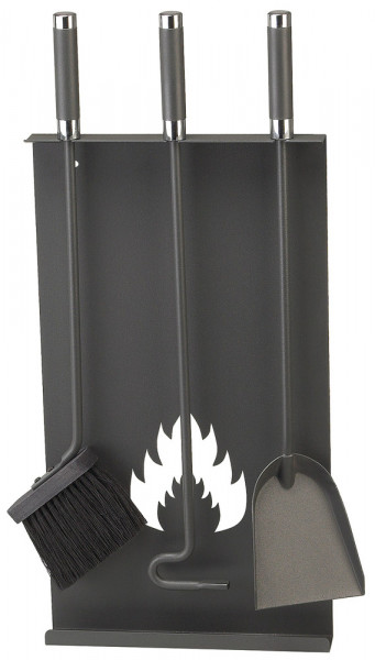 Kaminbesteck LENDON-2 aus Stahl, 3- teilig, anthrazit
